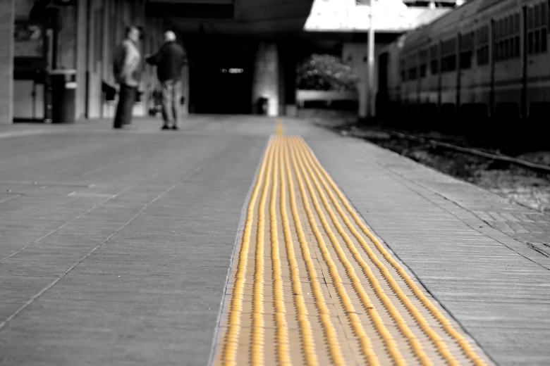 Yellow Tactile Strip in Train Station
